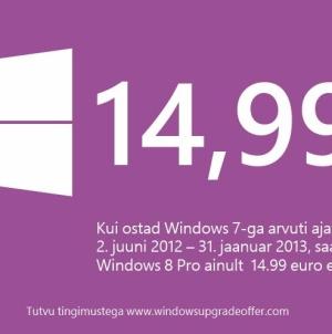 Windows 8 ainult €14,99